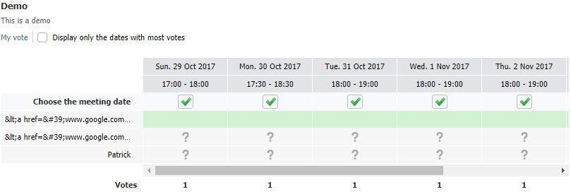 meeting schedule poll
